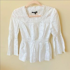 Samuel Dong white woven all over eyelet top #1708